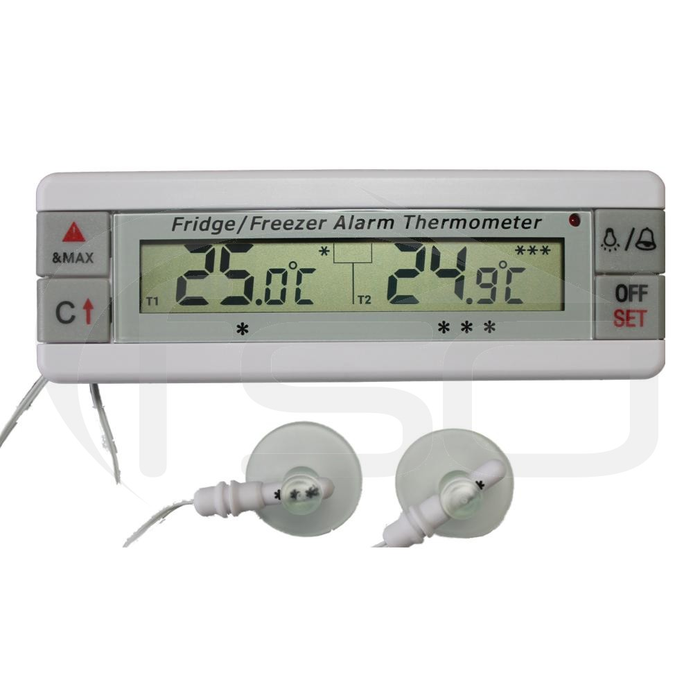 Fridge and Freezer Thermometer with Dual Sensors and Alarm