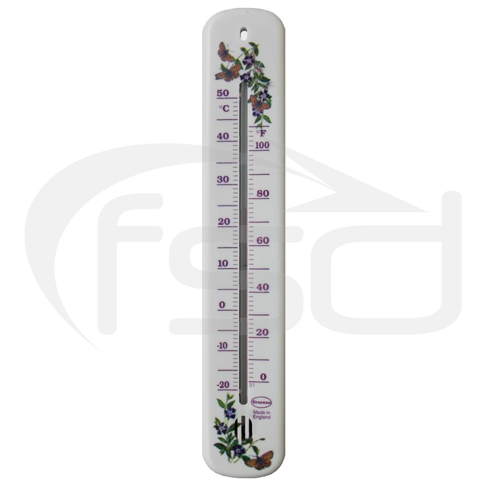 White Wall Thermometer - Flower and Butterfly Design