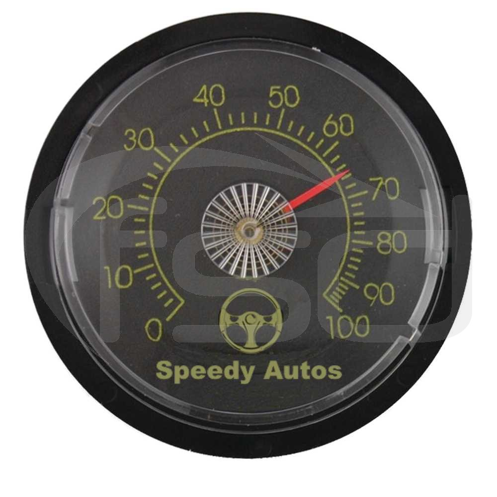 Custom Printed Black Dial Thermometer (65mm)